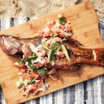 Poisson de récif grillé avec salade de pastèque | Recettes de barbecue